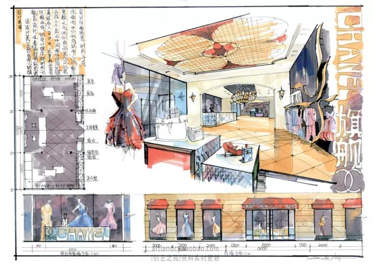 [室内快题设计]服装专卖店高清手绘图