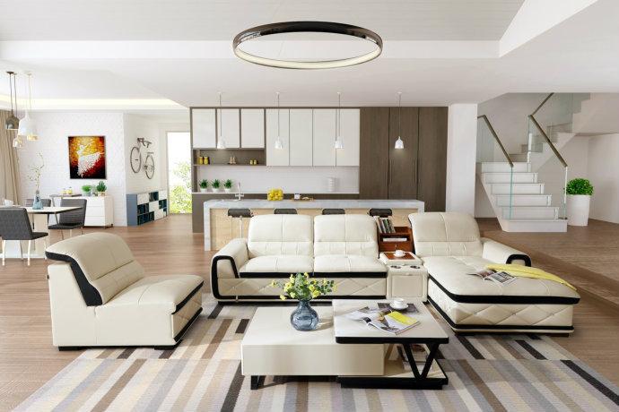 现代简约白色家居客厅装饰效果图