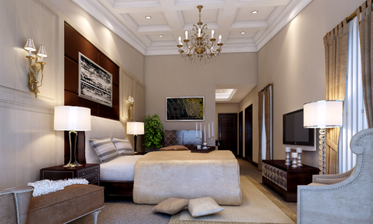雅安三层豪华别墅室内设计施工图(含效果图)-主卧室效果图