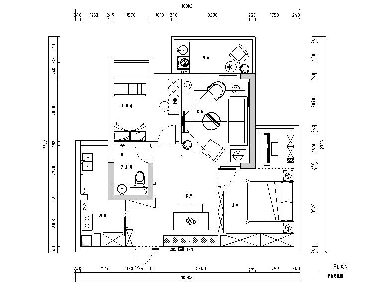 翰林珑城简单爱主题二居室住宅设计施工图(附效果图)
