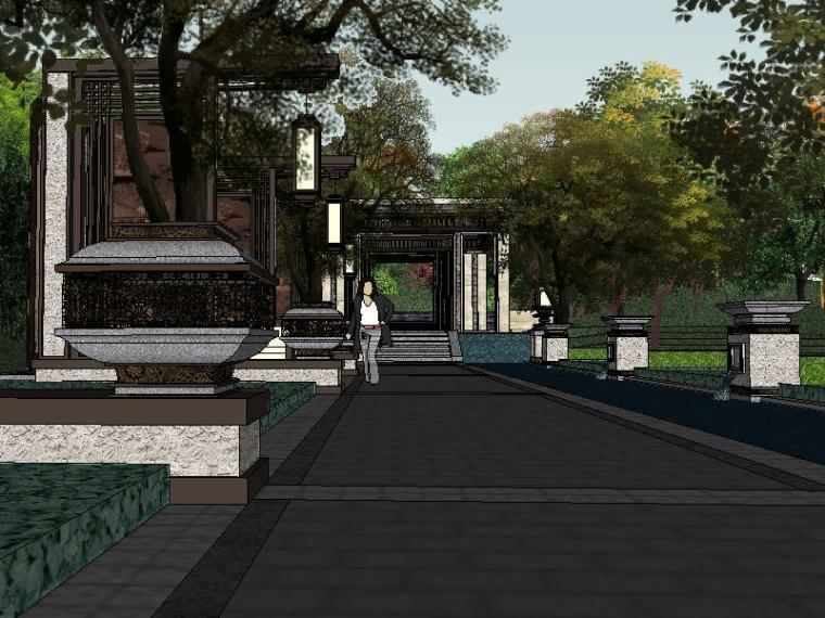 [景觀su模型]新中式居住示范區景觀模型.skp