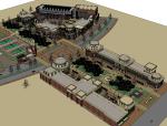万科美式商业街建筑SU模型