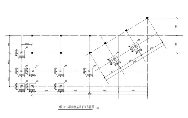 [江西]主题乐园餐厅钢框架雨棚结构施工图(CAD,17张)