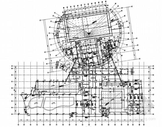 [江苏]五层钢筋混凝土框架钢结构顶棚游泳馆结构图(含跳台详图)