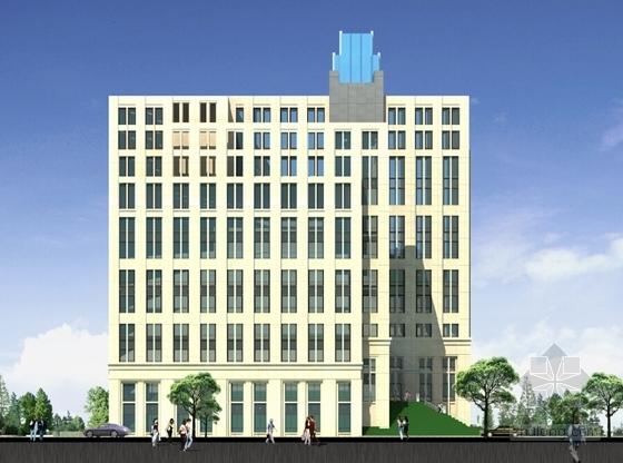 [上海]55米现代古典风格科研中心建筑设计方案文本(含CAD方案图)-55米现代古典风格科研中心建筑立面图