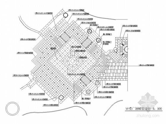 旱喷小广场平面景观施工图