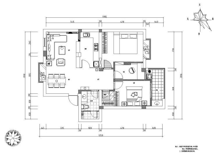 现代温馨家装施工图设计(附实景照片)