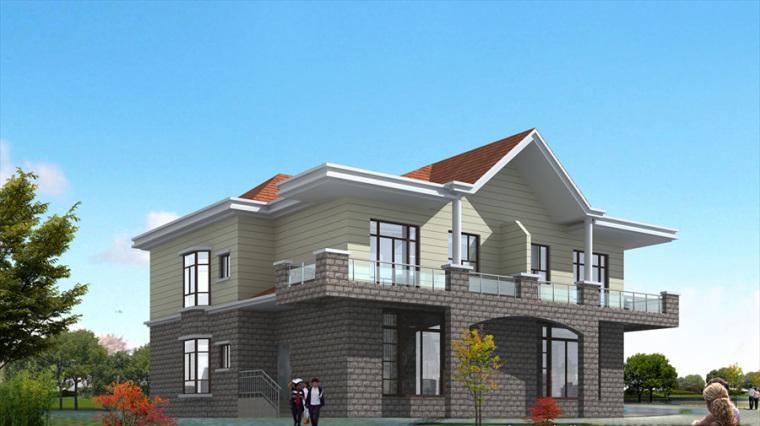 农村二层别墅盖房设计案例效果图-别墅8