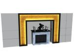 欧式电视墙3D模型下载