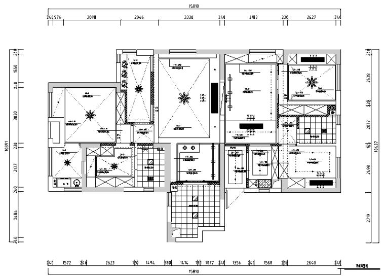 【湖北】现代偏港式样板房设计施工图(附效果图)_2