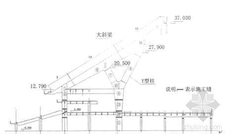 体育场变截面Y型柱悬挑大斜梁施工工法(2004年)