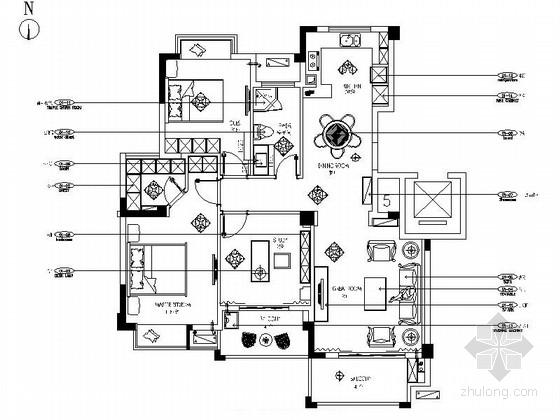 精致奢华欧式三居室样板房室内装修图(含效果)