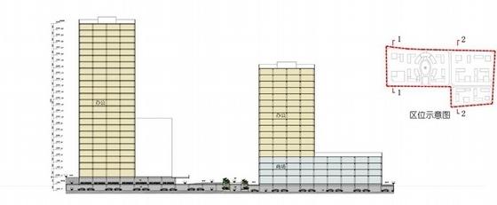 [福建]城市核心区软件园地块规划设计方案文本-城市核心区软件园地块规划剖面图
