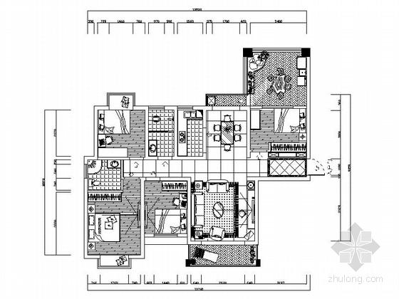 欧式风情五居室设计装修图(含效果)