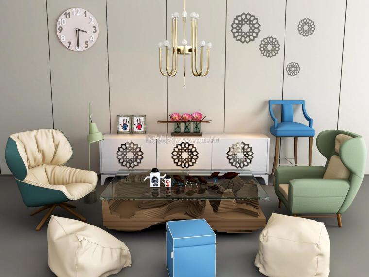 现代休闲沙发组合效果图
