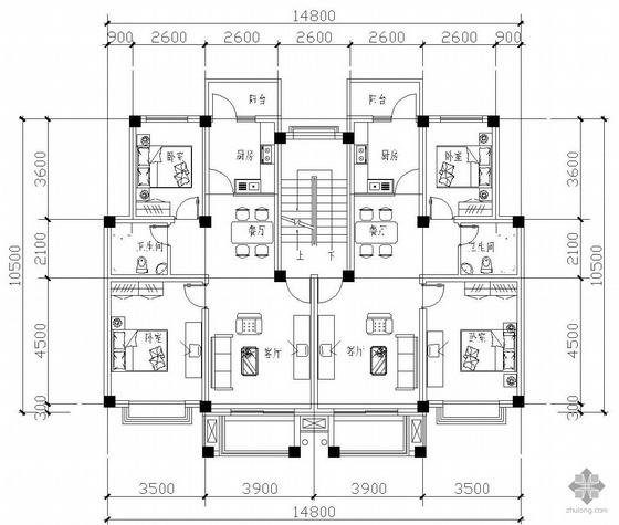 板式多层一梯二户二室一厅一卫户型图(80/80)