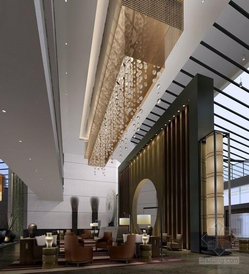 [苏州]现代苏式风格会议酒店设计装饰方案图大堂效果图