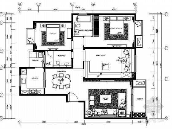 家装三居室B型样板房室内施工图