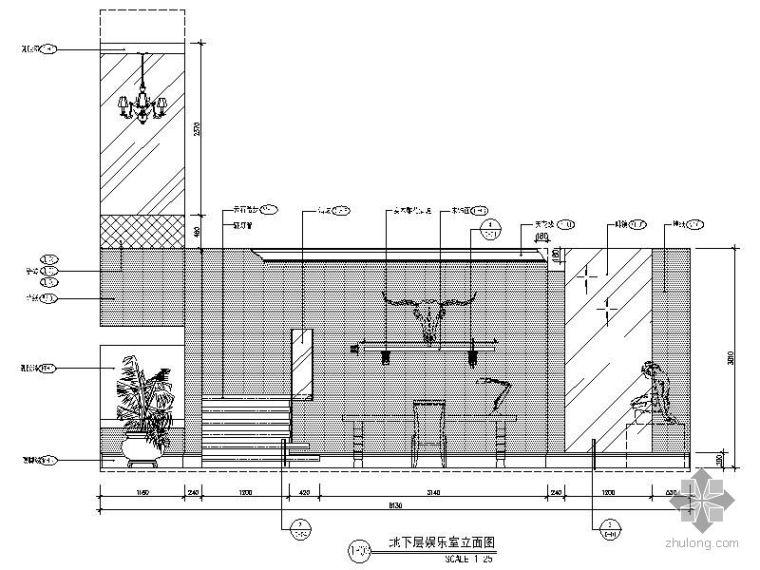 别墅地下娱乐室立面图