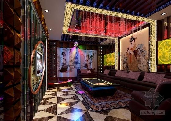 [江西]高档次一流特色中式风情四星级酒店装修方案图KTV小包厢效果图