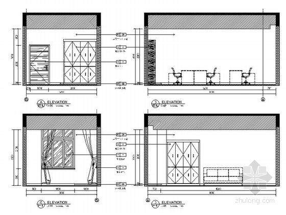 [江西]事业单位三层办公楼装修施工图 立面图