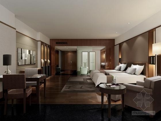 [苏州]环抱独墅湖水天一色苏式恬静会议酒店设计施工图(含方案及实景)VIP客房效果图
