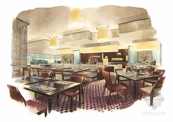 [广东]全球连锁豪华欧式风格商务酒店设计方案西餐厅效果图