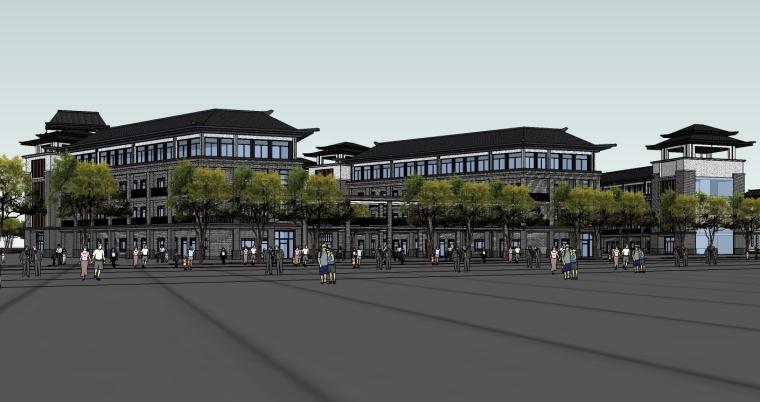 中式风格中学建筑设计SU模型_2