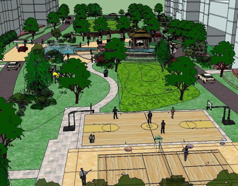 太仓居住区景观模型设计(高层景观)