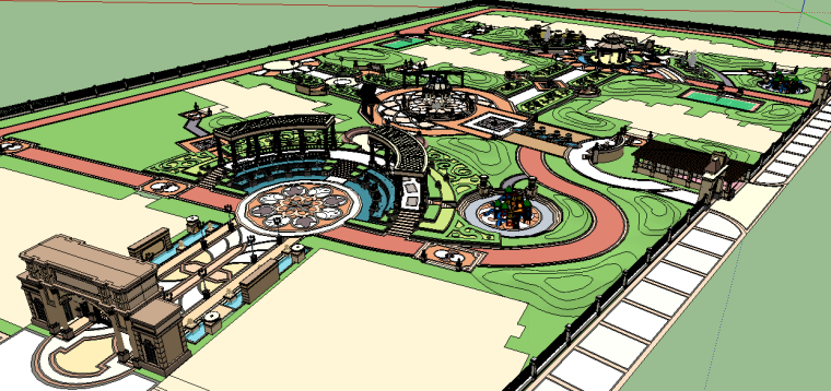 新古典主义居住区景观模型 11
