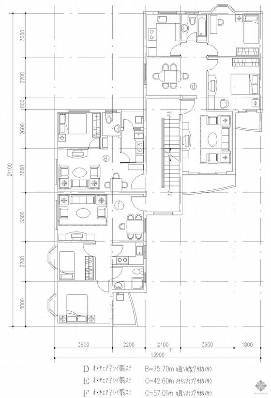 塔式多层一梯三户户型图(76/43/57)
