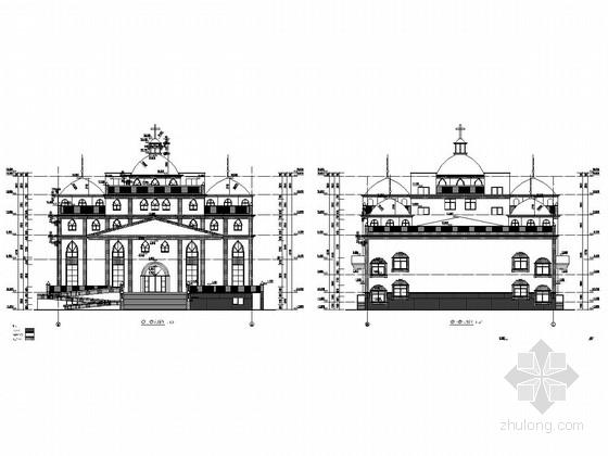 五层钢框架结构教堂结构施工图(含建筑图)