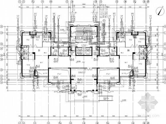 uasb工艺污水处理厂平面布置图资料下载-[安徽]商住楼给排水立管工艺施工平面图