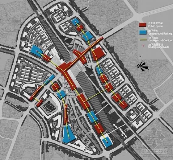 大型交通枢纽周边地区规划设计分析图