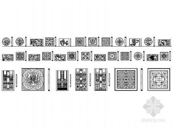 u型楼梯cad图块资料下载-中式雕花CAD图块下载