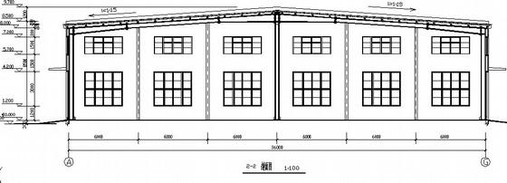 [山东]36米跨门式钢架蔬菜车间建筑结构图