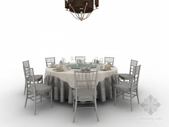 八人圆桌椅组合3d模型下载