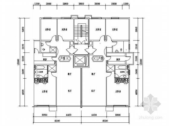 某住宅区板式住宅端头户型平面图(130平方米)