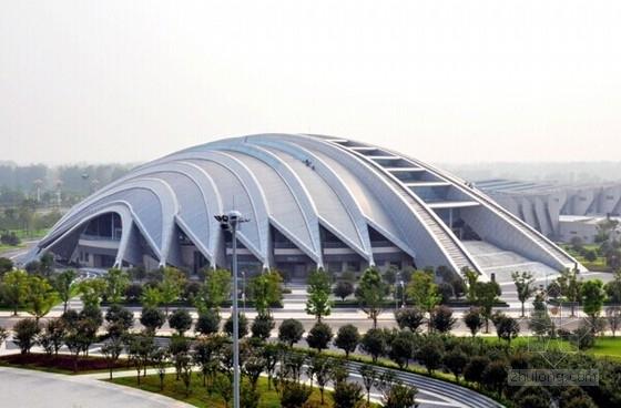 [江苏]桁架钢管拱空间折板体系体育馆结构图(含建筑图 钢结构图 中国钢结构金奖项目)
