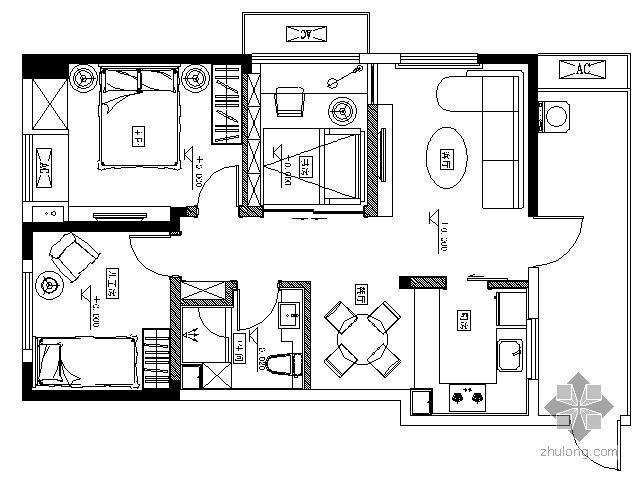 [成都]某精装修项目A户型三居室装修图(含效果)