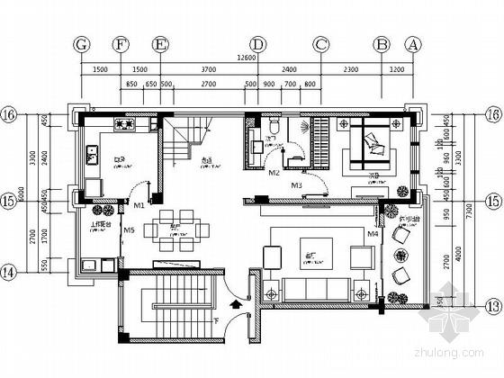 [昆山]森林公园现代两层别墅样板间装修设计施工图