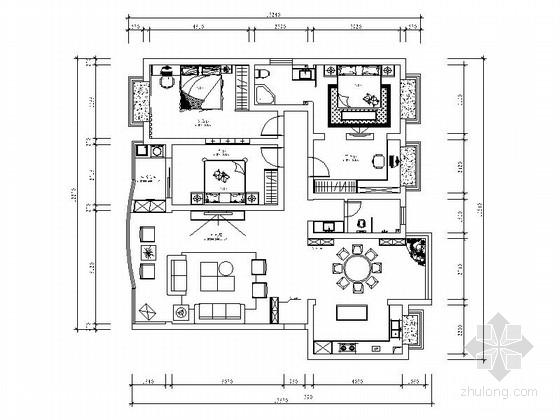 高档现代三室两厅装修图(含效果)