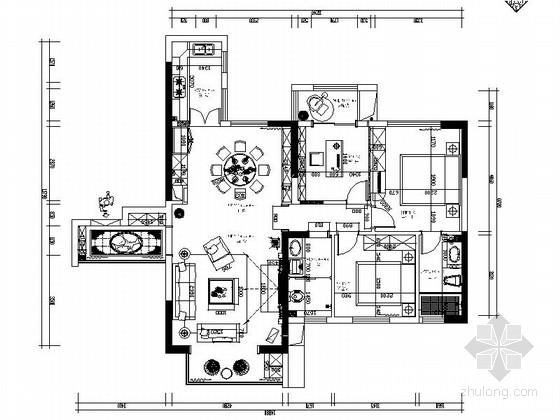 [石家庄]温馨舒适现代3室2厅室内设计CAD图