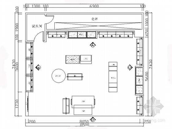美国著名精英休闲品牌服装专卖店展厅设计施工图(含效果)