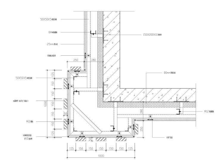 高层建筑石材幕墙施工图(CAD、50张)-造型柱节点图
