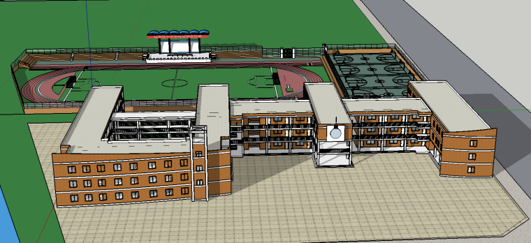 延津学校SU建筑模型