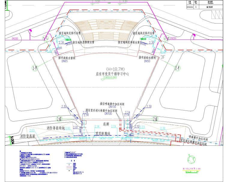 启东市党员干部学习教育中心给排水设计全套图纸
