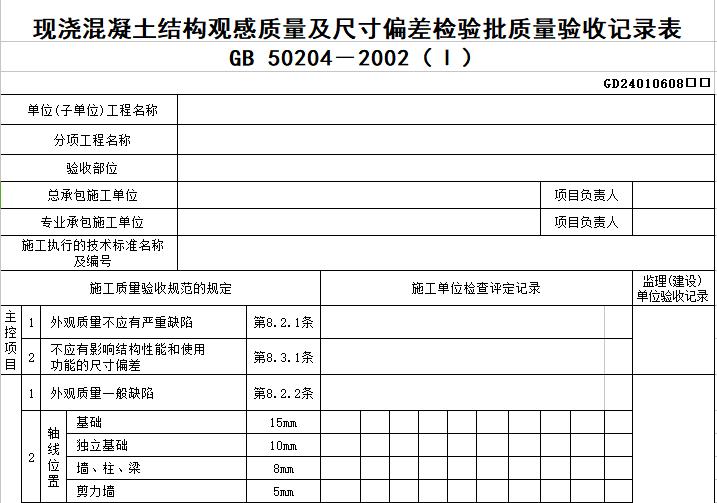 地铁工程主体结构工程检查及检验批验收记录用表(60个表格)