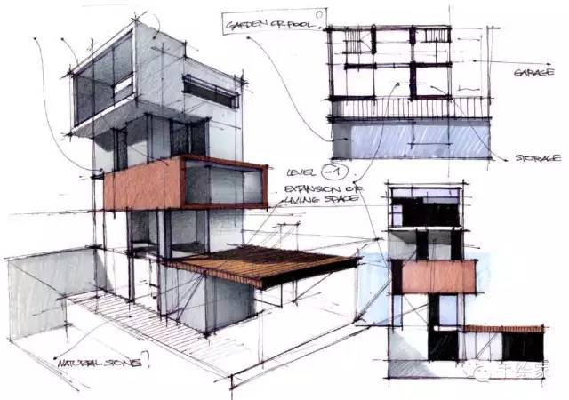 百年经典建筑设计手绘图_28
