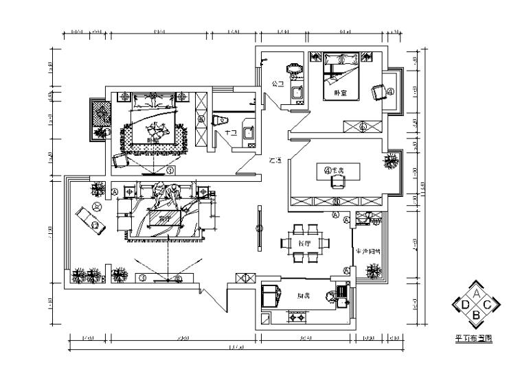 新中式样板房设计CAD施工图(含效果图)_1